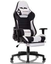 Gaming Chair Ergonomic Reclining Racing Computer Game Chairs High Back PU Leather Gaming Desk Chair Large Size E-Sport Chair with Lumbar Support (Black/White)