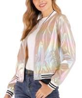 Wudodo Womens Holographic Jackets Shiny Metallic Jacket Sparkle Shimmering UV Sun Protection Lightweight Jacket