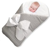 BundleBee Baby Wrap/Swaddle/Blanket, Feather Light/Grey Polka Dot, 0-4 Months
