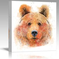 wall26 - Fun and Colorful Splattered Watercolor Grizzly Bear - Canvas Art Home Decor - 12x12 inches