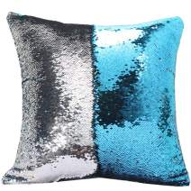 "URSKYTOUS Reversible Sequin Pillow Case Decorative Mermaid Pillow Cover Color Changing Cushion Throw Pillowcase 16"" x 16"",Turquoise and Silver"