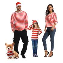 Family Christmas Striped Shirt Crew Neck Long Sleeves Cosplay Xmas Suit T-Shirt