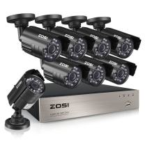 ZOSI 8-Channel HD-TVI 720P 1080N Video Security DVR Surveillance Camera Kit 8 x 1280TVL Indoor Outdoor IR Weatherproof Cameras 65feet 20m Night Vision with IR Cut NO Hard Drive (Renewed)