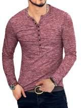 KUYIGO Mens Casual Slim Fit Basic Henley Short Sleeve Fashion Summer T-Shirt