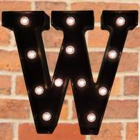 Pooqla Decorative LED Illuminated Letter Marquee Sign - Alphabet Marquee Letters with Lights for Wedding Birthday Party Christmas Night Light Lamp Home Bar Decoration W, Black