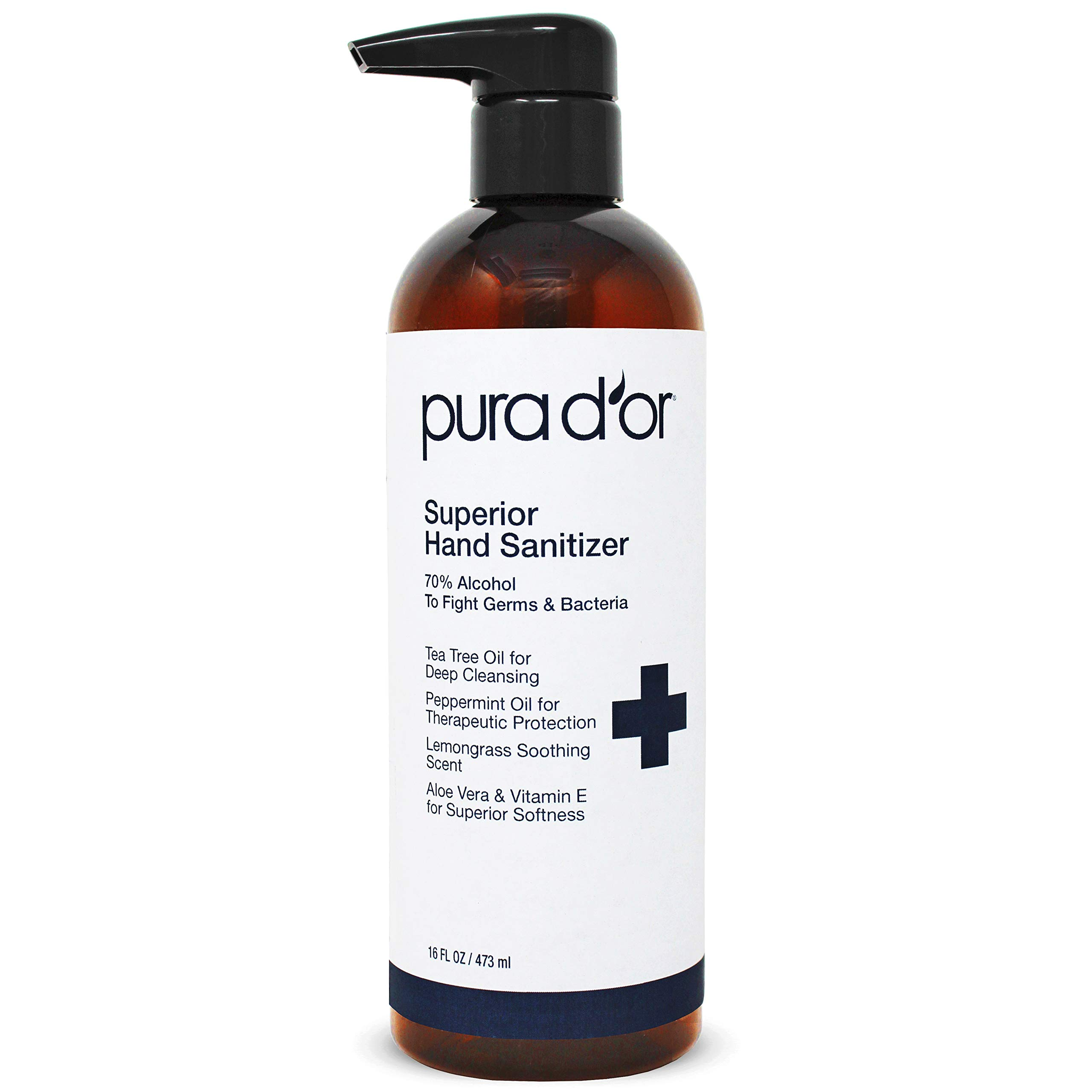 PURA D'OR Hand Sanitizer Gel LEMONGRASS Scent (16oz) 70% Alcohol Kills 99% Germs w/Aloe Vera, Tea Tree: Waterless Deep Cleansing Moisturizing Formula Soothes, Fights Germs & Bacteria