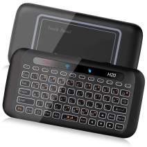 ILEBYGO 2.4Ghz H20 Mini Wireless Keyboard and Touchpad Mouse Combo,7 Colors Adjustable, Rechargeable Auto-Rotation of Touch Panel Handheld Remote Control for Android TV Box, Projector, IPTV, HTPC, PC