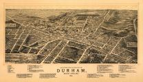 Durham, North Carolina - (1891) - Panoramic Map (12x18 Fine Art Print, Home Wall Decor Artwork Poster)