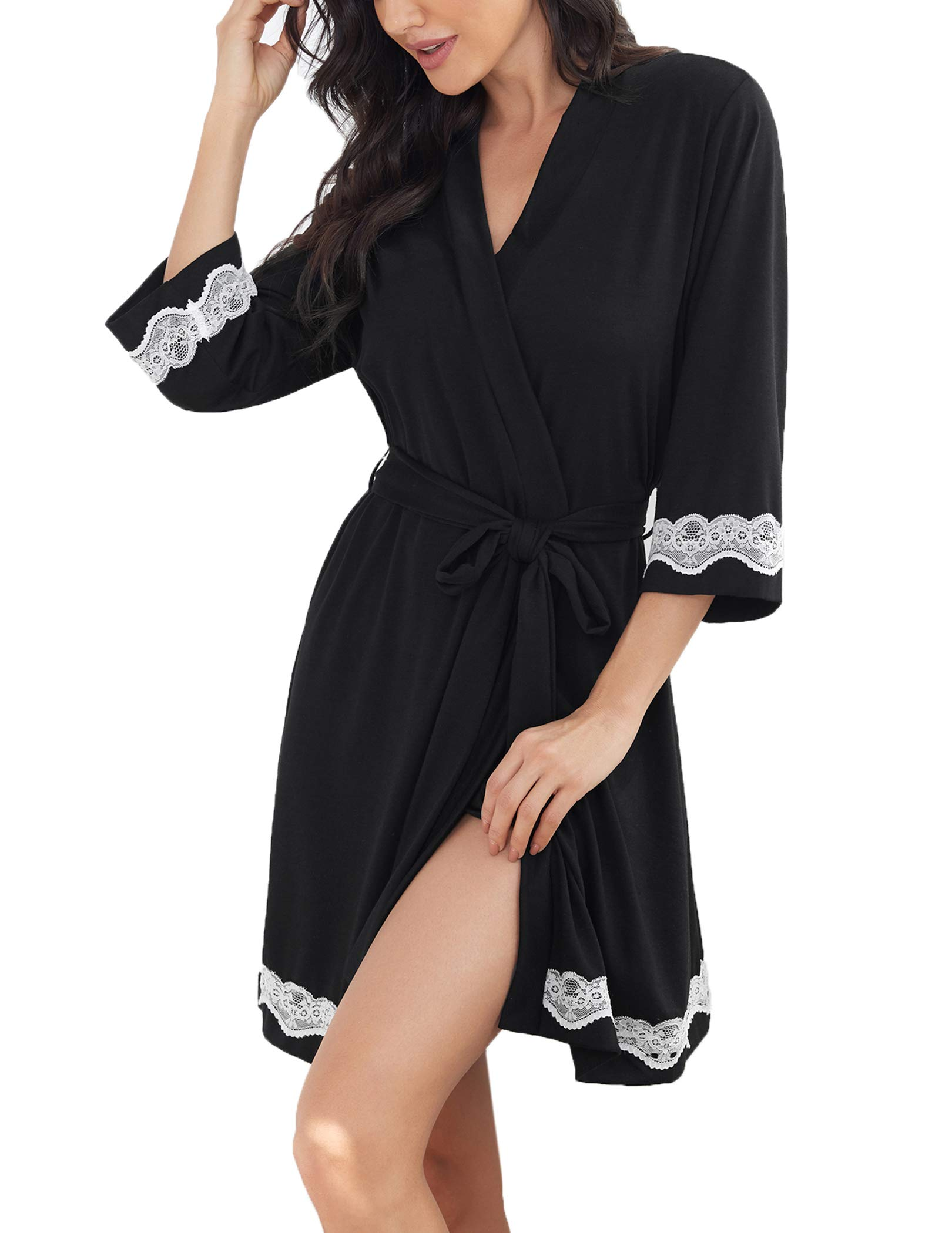 Ekouaer Robes for Women Lace Kimono Robes Short Bathrobe with 3/4 Sleeve Soft Sleepwear Ladies Loungewear S-XXL