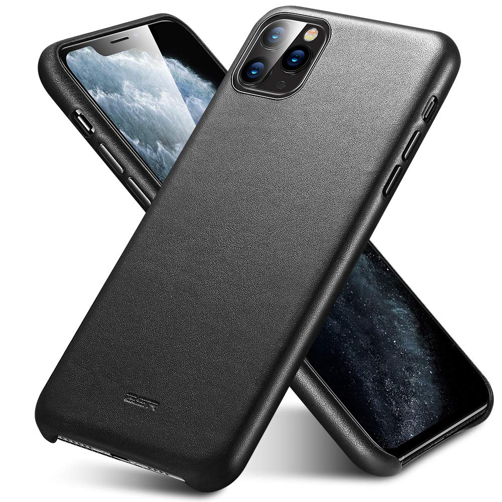 """ESR Premium Real Leather Case Compatible with iPhone 11 Pro Max - Slim Full Leather Phone Case [Supports Wireless Charging] [Scratch-Resistant] Protective Case for iPhone 11 Pro Max 6.5"""" 2019 - Black"""