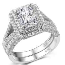 Mutian 1.75Ct Wedding Engagement Eternal Bridal Ring Set, 925 Sterling Silver Cz Cubic Zirconia 2pcs Princess Stackable Unlimited Anniversary Ring
