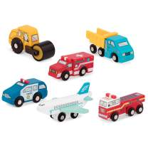 Battat - Wooden Vehicles – Miniature Wooden Toy Cars & Trucks Including Toy Airplane, Steamroller, & Police Car for Toddlers 3-Years-Old & Up (6-Pcs) (BT2636Z)