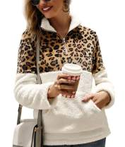 Nicetage Women's Fashion Leopard Print Sherpa Pullover Half Zip Patchwork Fuzzy Fleece Sweatshirt with Pocket