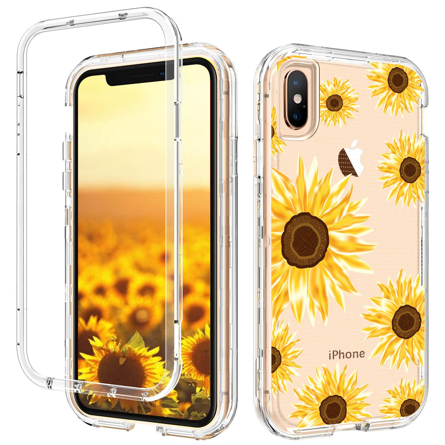 GUAGUA iPhone Xs Max Case Sunflower Clear Floral Flowers for Girls Women 3 in 1 Hybrid Hard Plastic Soft Rubber Cover Shockproof Protective Phone Cases for iPhone Xs Max Transparent Yellow