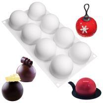 FUNSHOWCASE 8 Cavities Truffles Chocolate Globe Sphere Silicone Mold Tray per Cavity 2.4x2.4x2inch