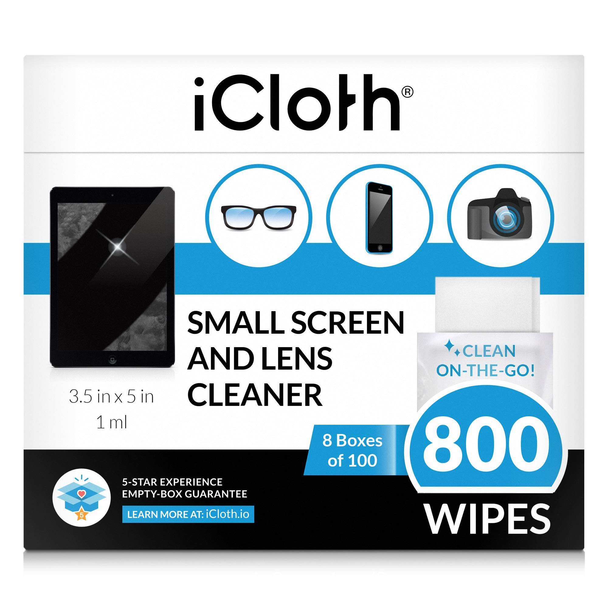 iCloth Lens and Screen Cleaner Pro-Grade Individually Wrapped Wet Wipes, Wipes for Cleaning Small Electronic Devices Like Smartphones and Tablets, Box of 800