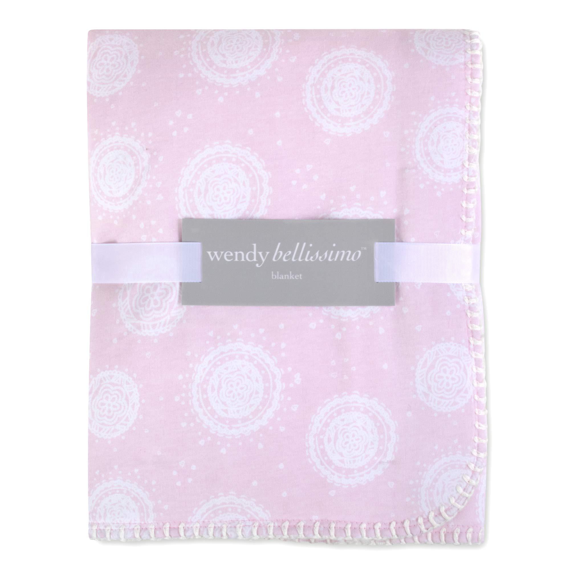 Wendy Bellissimo Super Soft Plush Baby Blanket (30x40) - Medallion in Pink/White