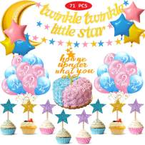 TWINKLE TWINKLE LITTLE STAR Theme Gender Reveal Party Supplies & Decorations Baby Shower Party Decorations with Gold Moon Pink Blue Gold Star Gender Reveal Party Balloons Cake Toppers