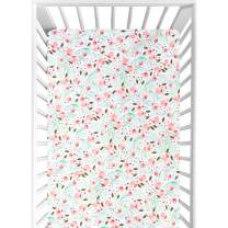 Fitted Crib Sheets, Organic Cotton Soft Breathable Hypoallergenic High Elasticity Baby Sheet, Premium Safe Bedding Set for Standard Mattresses, Unique Floral Design, Great Gift for Newborn Toddler
