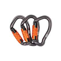 LAZZO 3 Pack Twist Lock Climbing Carabiner Clips, Auto Locking and Heavy Duty, Perfect for Climbing and Rappelling, Carabiner Dog Leash, D Shaped 4.21 Inch, Large Size