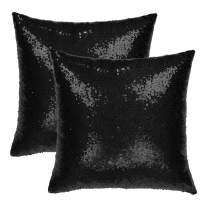 uxcell Pack of 2,Sequin Throw Pillow Covers,Shiny Sparkling Comfy Satin Cushion Covers,Decorative Pillowcases for Party/Christmas/Thanksgiving/New Year,16 x 16 Inch, Black