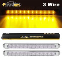 Partsam 2Pcs 17 Inch Amber Led Trailer Lights Bar 12LED Clear Lens with Chrome Bezel Surface Mount Waterproof Thin line Truck Led Turn Signal Parking ID Marker Clearance Identification Light Bar 12V