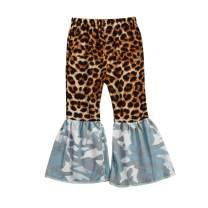 TheFound Baby Girl Flare Pants Toddler Little Girls Bell Bottom Pants Leopard Print Ruffle Leggings Trousers