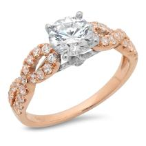 Clara Pucci 1.55 Ct Round Cut Pave Halo Engagement Promise Wedding Bridal Anniversary Ring Band 14K White Rose Gold