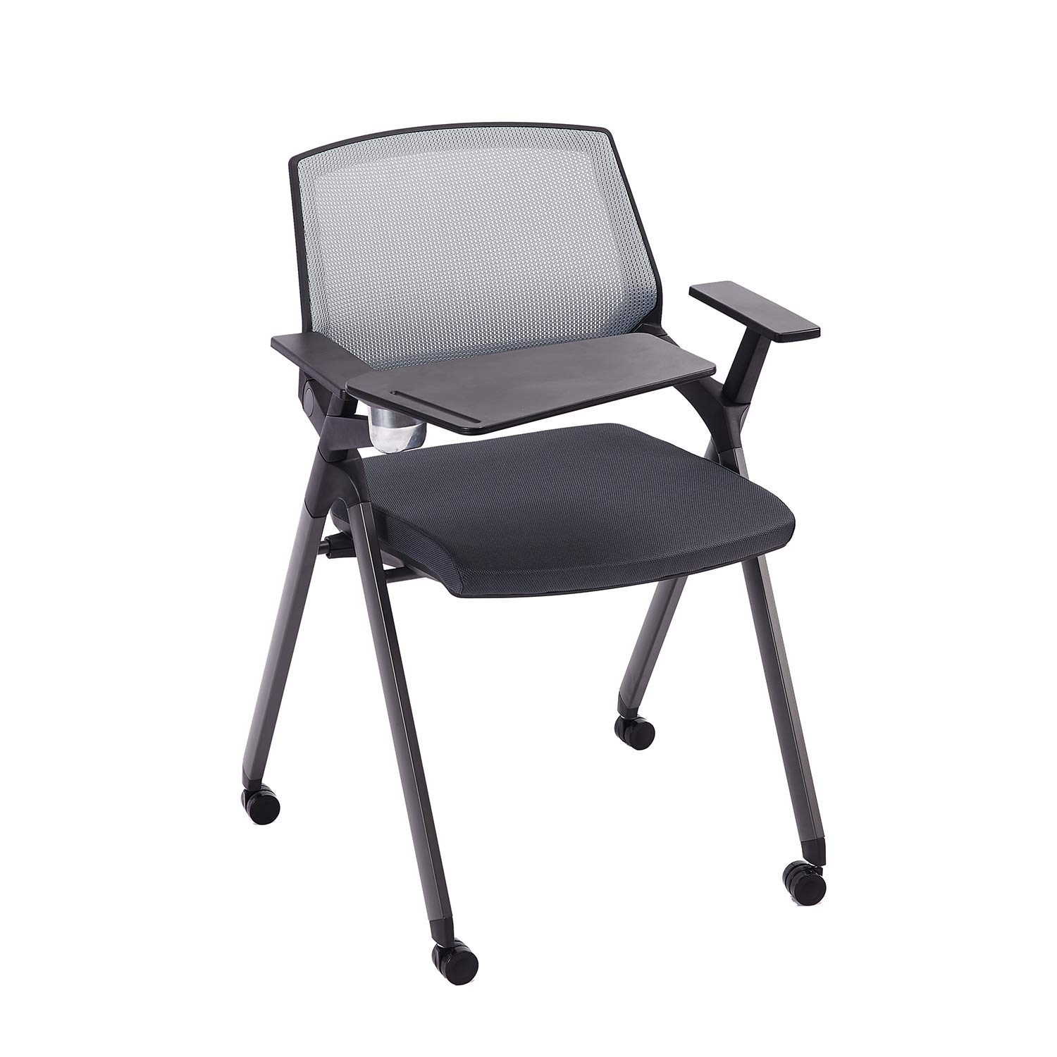 CLATINA Reception Stacking Chair Mesh Guest Nesting with Tablet and Caster Wheels for Office School Training Conference Waiting Room BIFMA Certified Gray