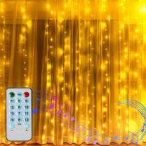 6.6FT X 6.6FT Window Curtain Lights Battery Powered Room Curtain Backdrop Light for Indoor Outdoor Decor, Sound Activated Music Sync Light Waterproof Waterfall Icicle Lights (Warm White)
