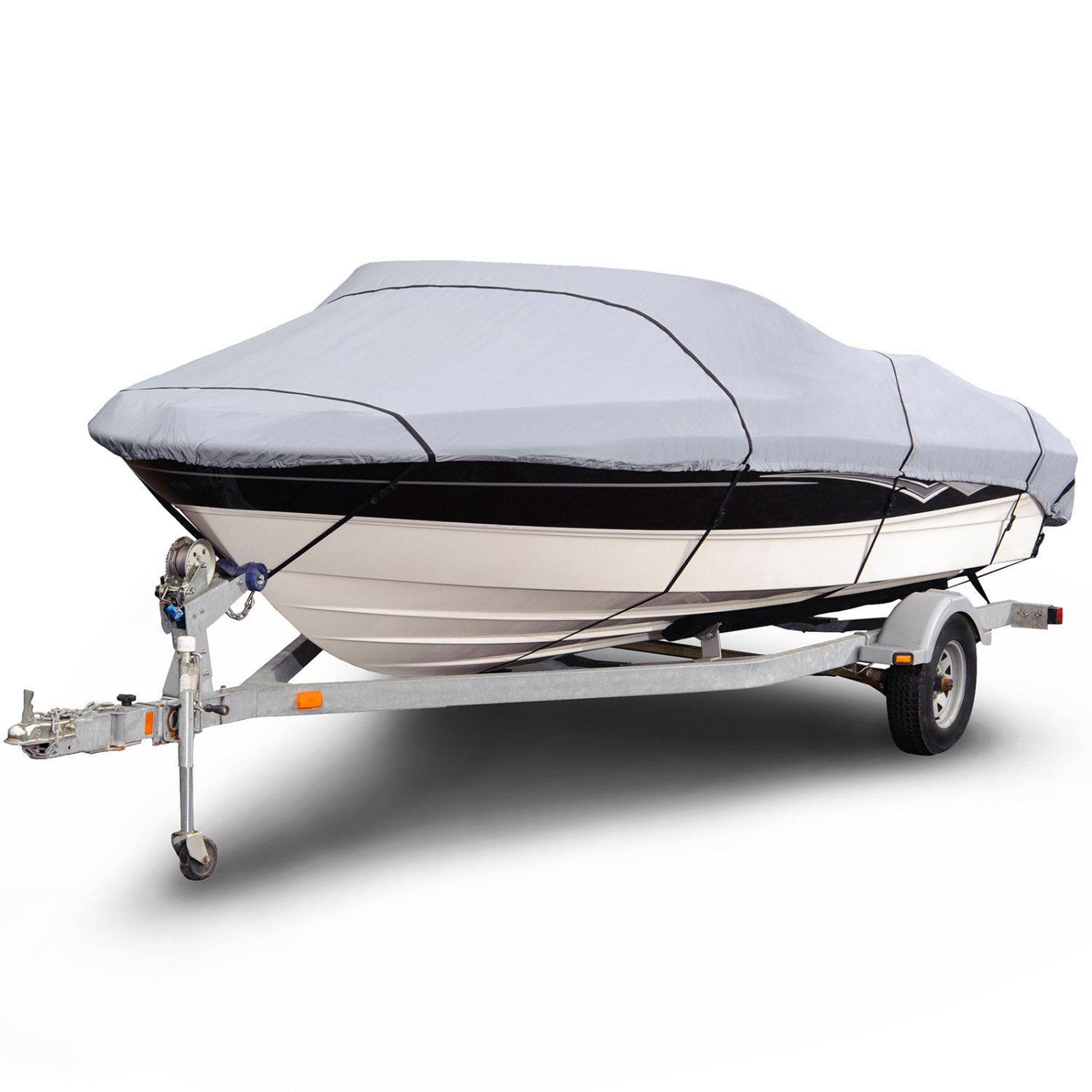 "Budge B-1201-X3 1200 Denier V-Hull Runabout Boat Cover Gray 14'-16' Long (Beam Width Up to 90"") Waterproof, Heavy Duty, UV Resistant"