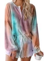 CANIKAT Women's Shorts Pajama Set Long Sleeve Tops Sleepwear Nightwear Loungewear Pjs