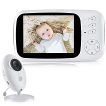Baby Monitor 3.5 inch, Baby Monitor with Camera and Audio, Video Monitor with Night Vision, Wireless Baby Monitor Camera with Temperature Monitor, WiFi Baby Monitor 2.4Ghz with PT Zoom, 2-Way Talk.
