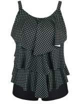 Cadocado Women's Two Piece Swimsuit Tankini Set Layered Ruffled Top with Boyshort Bottom Swimwear