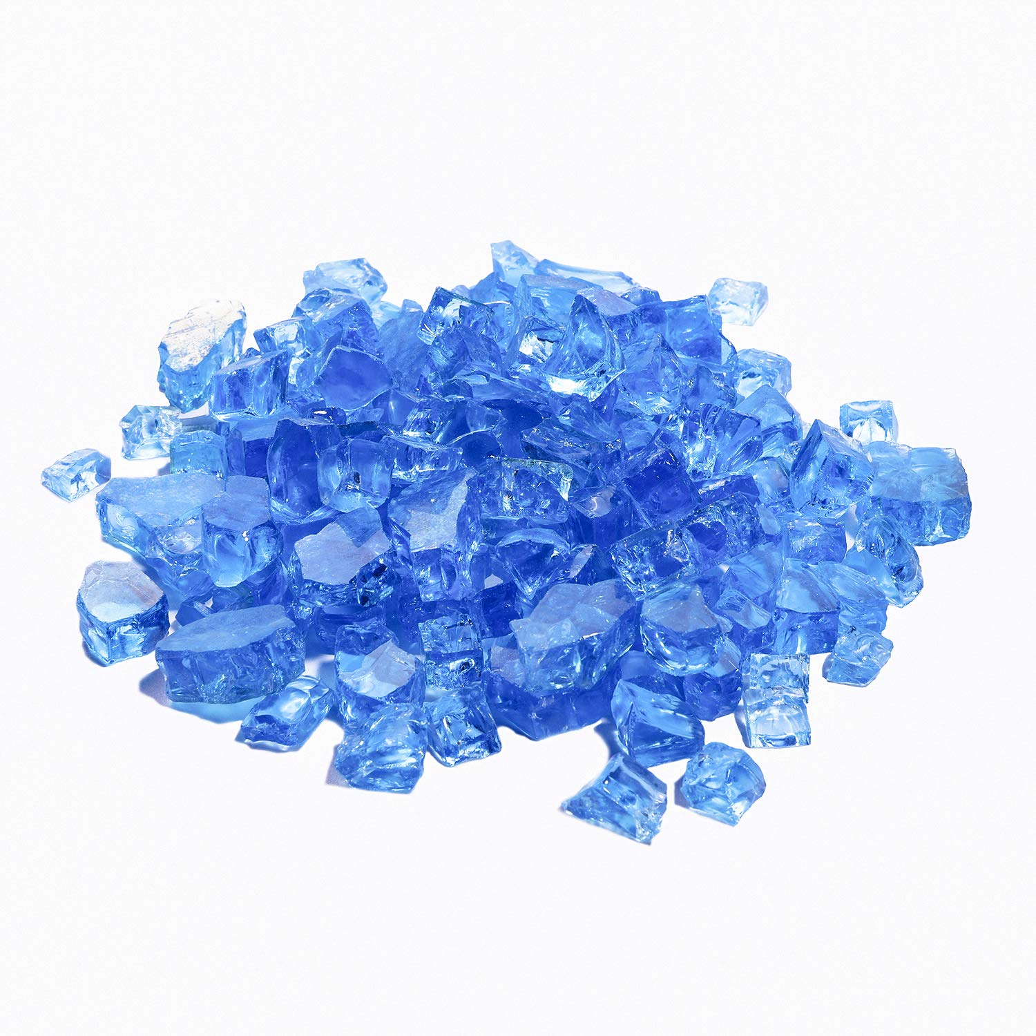 COSIEST Fire Glass 10-Pound Oblate for Fireplace Fire Pit, Tempature Rating Glass (Lake Blue)