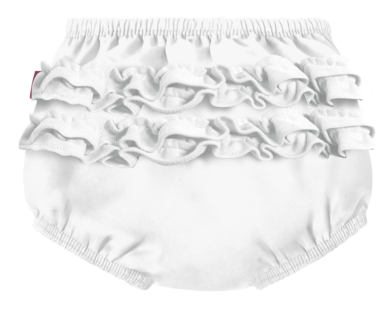 City Threads Baby Girls' Ruffle Swim Diaper Cover Reusable Leakproof for Swimming Pool Lessons Beach, White, 0/3m
