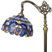 Floor Lamp Tiffany Style Stained Glass Arched Reading Light 64 Inch Tall Blue Purple Clouldy Crystal Bead Lover Flower Lampshade for Bedroom Living Room Bookcase S558 WERFACTORY