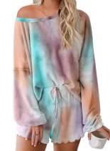 Astylish Womens Tie Dye Printed Ruffle Short Pajamas Set Summer Long Sleeve Tee and Pants PJ Set