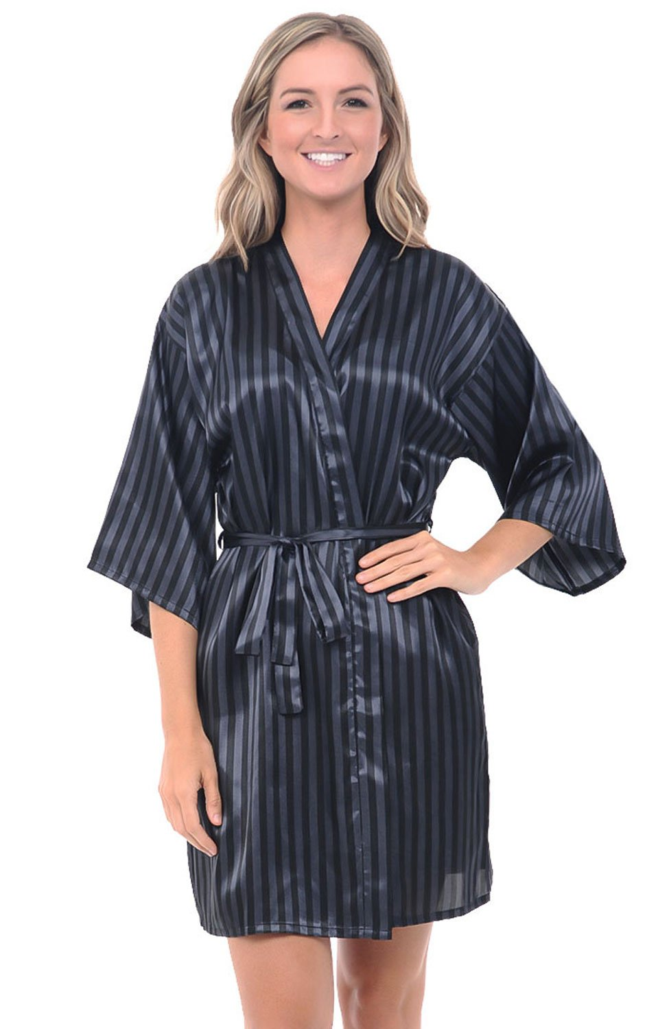 Alexander Del Rossa Womens Satin Printed Robe, Mid-Length Dressing Gown