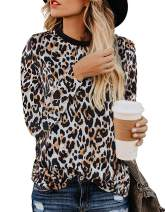 Women's Leopard Print Blouses Long Sleeve Crewneck Basic Casual Top Soft Shirts