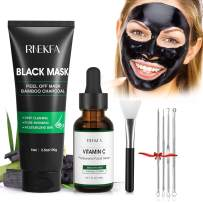 RNEKFA Blackhead Peel Off Face Mask, 4-in-1 Blackhead Remover Mask ,with Brush & Repair skin Serum,Extractor Tools ,Purifying & Deep Cleansing Black Mask for Men And Women Blackheads, Dirt, Acne, Pores Shrinking (100g+30ml)