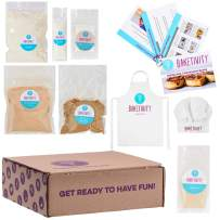 Baketivity Kids Baking DIY Activity Kit - Bake Delicious Cinnamon Buns with Pre-Measured Ingredients – Best Gift Idea for Boys and Girls Ages 6-12 – Includes Free Hat and Apron