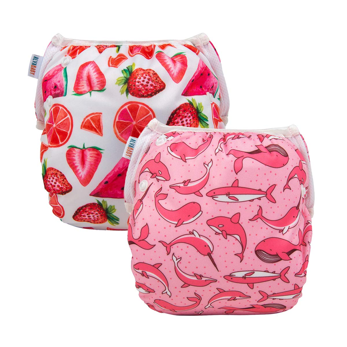 Alva Baby Swim Diapers 2pcs Reuseable Washable & Adjustable for Swimming Lesson & Baby Shower Gifts 0-2 Years (Pretty in Pink) YK48-49