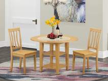 3 Piece Sudbury Set With One Round Dinette Table And Two Dinette Chairs With Wood Seat In A warm Oak Finish.
