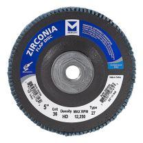 "Mercer Industries 266H036 Zirconia Flap Disc, High Density, Type 27, 5"" x 5/8"" 11 Thread, Grit 36, 10 Pack"