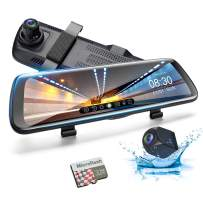 9.66 inch Mirror Dash Cam GSSUSA Car Dash Camera Touch Screen 1080P+1080P Rearview Front and Rear Dual Lens with Waterproof Reversing Camera with Night Vision 32G TF Card Included