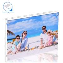 Acrylic Photo Frame 5X7-1 Pack Clear Double Sided Magnetic Picture Frameless Desktop Display with Photo Frame Support Stand Best Gift for Family, Baby, Document Photo Frames- Free Soft Microfiber