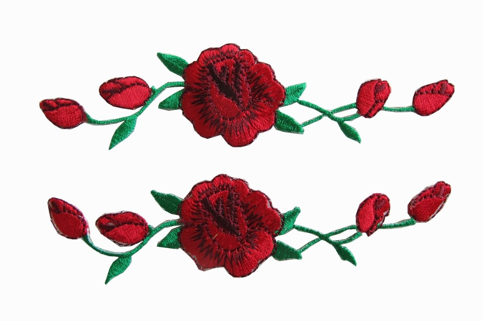 """Yonisun 2 Pcs Applique Patch Rose Flower Embroidery Iron On Flower Appliques for Craft, Sewing, Clothing, Scrapbooking Decorative 1 1/8"""" x4 3/4"""" inch (Red)"""