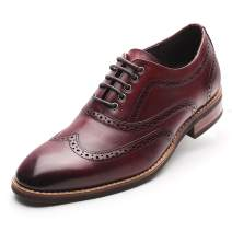 CHAMARIPA Elevator Dress Shoes Height Increasing Brogue Shoes Brown Red Tall Men Shoes 1.95 Inches