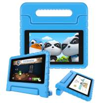 Fintie Shock Proof Case for All-New Amazon Fire 7 Tablet (9th Generation, 2019 Release) - Kiddie Series Light Weight Convertible Handle Stand Kids Friendly Cover, Blue